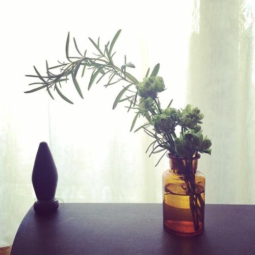 tocolierさんで買った花を蚤の市で買った小瓶に。tocolierさんのとこで見たスタイリングを真似たかったけどムリでした。。なんだか野暮ったいけど、、まぁ、勘弁しといてやる。しかしローズマリーに癒される(´-`) from iPhone